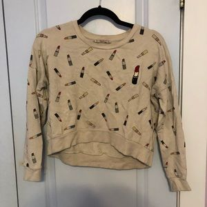 Cropped sweater with patch detailing